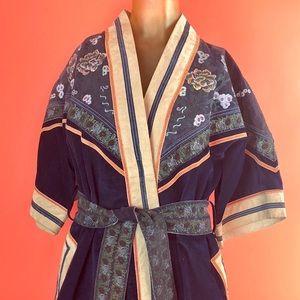 Jackets & Blazers - Rare Vintage Suede Hand Painted Kimono Korea